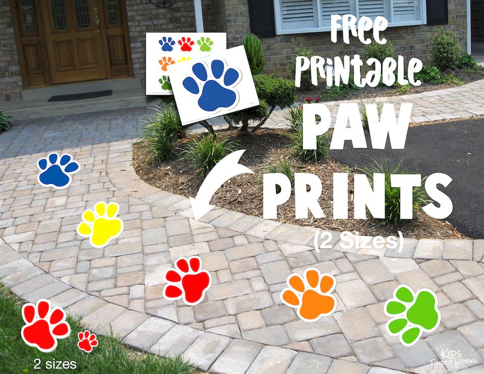 Paw Patrol Printable Paw Prints (say that 5 times fast). KidsPartyWorks.Com