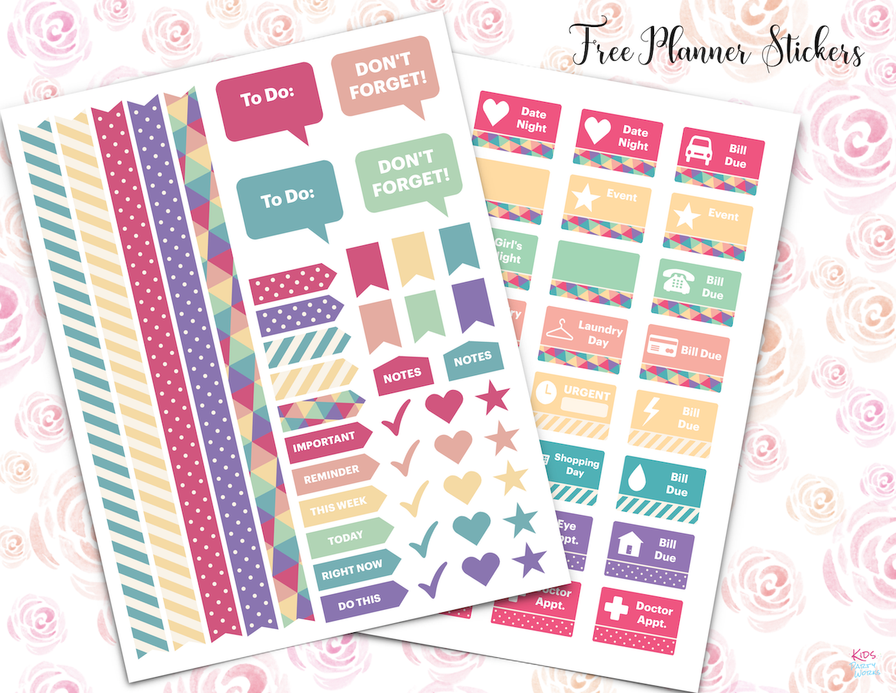 Printable Planner Stickers - KidsPartyWorks.Com