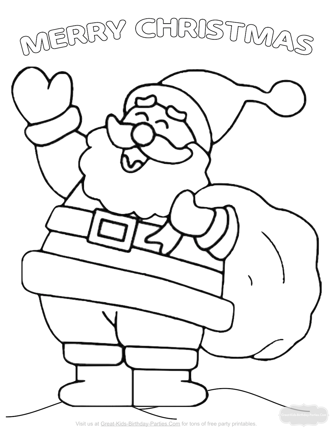 heres a beautiful santa coloring page with added graphics for more coloring fun click on image for download