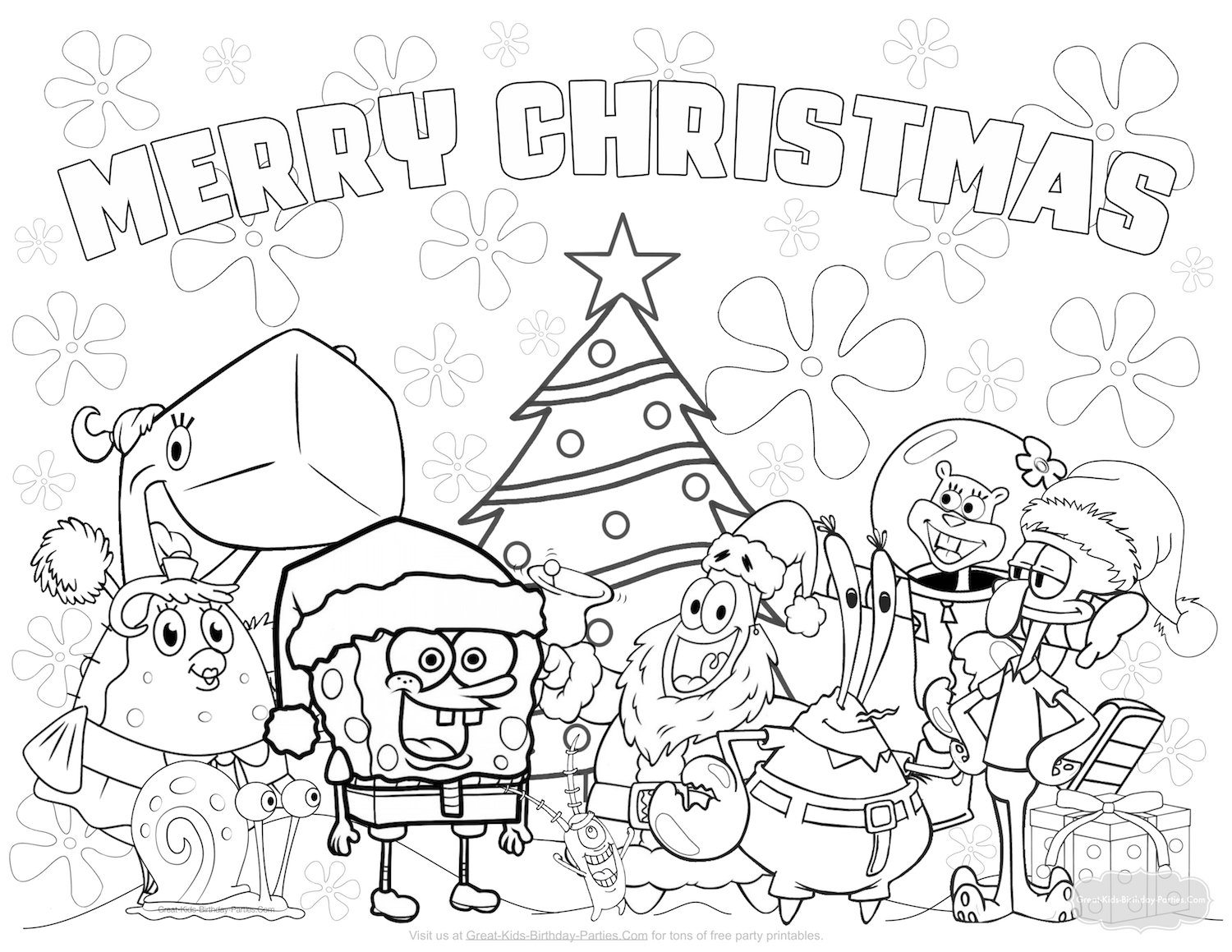 spongebob christmas coloring pages free printable - christmas coloring pages