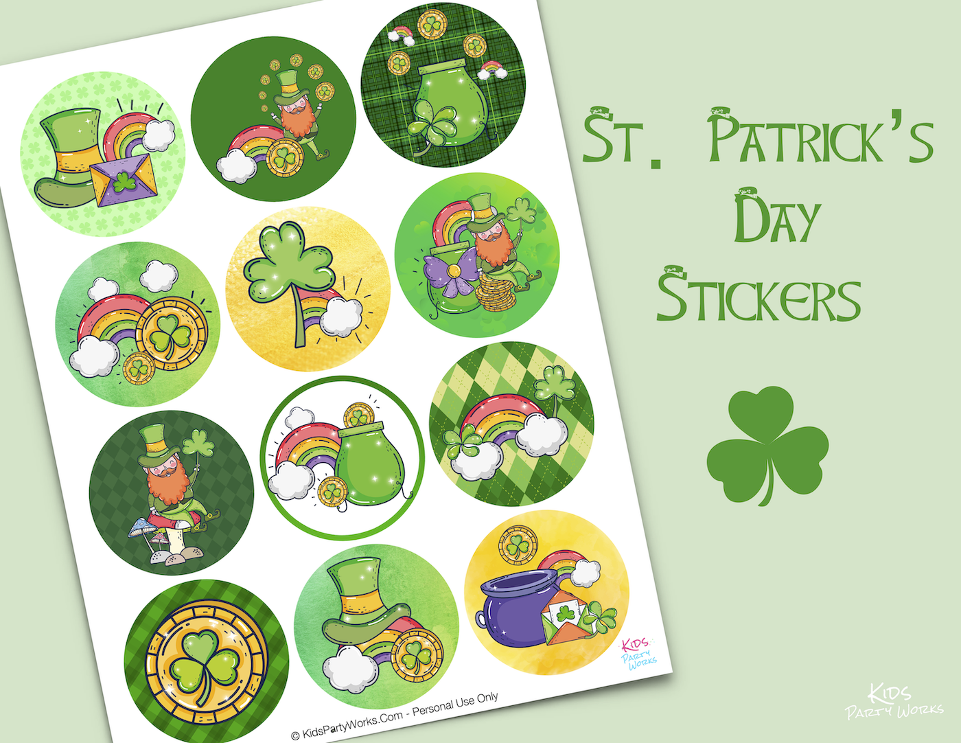 Free St. Patrick's Day Stickers by KidsPartyWorks.Com