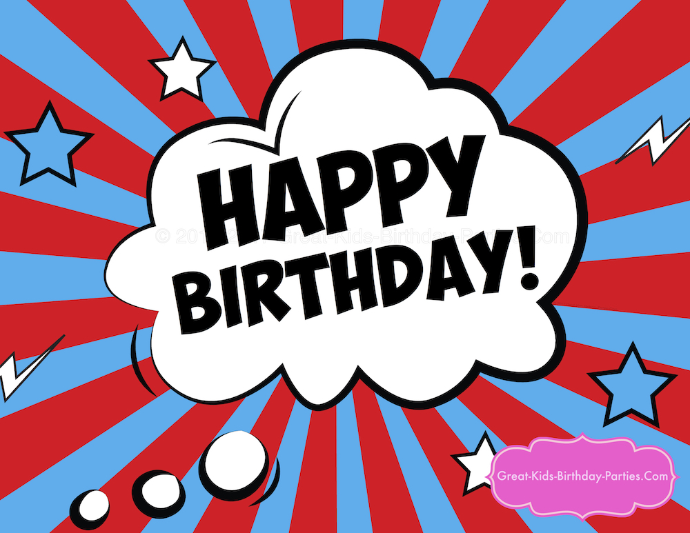 graphic relating to Happy Birthday Printable Sign named Superhero Printables