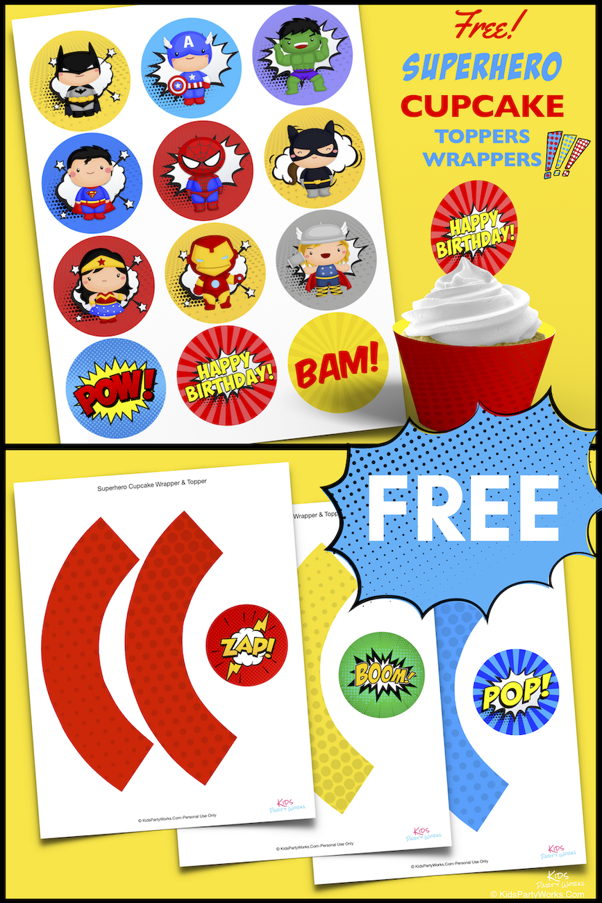 Free Superhero Cupcake Toppers. KidsPartyWorks.Com