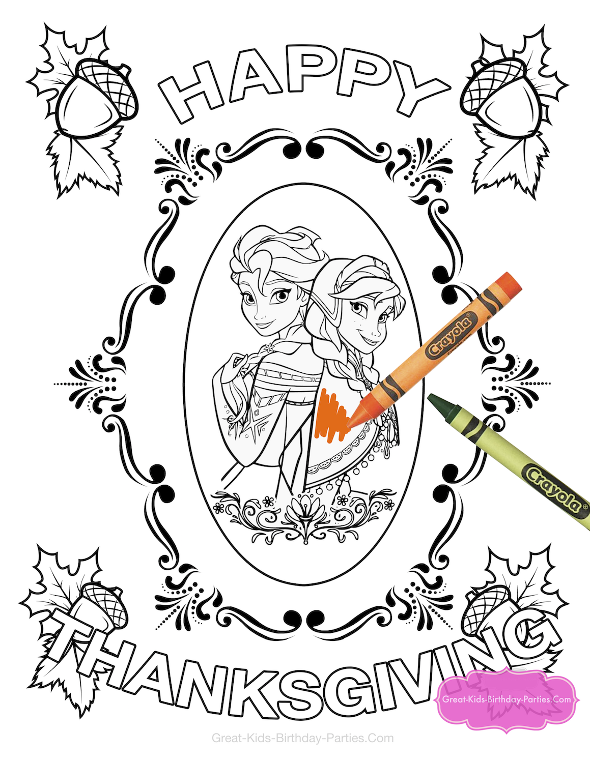 Frozen Thanksgiving coloring page