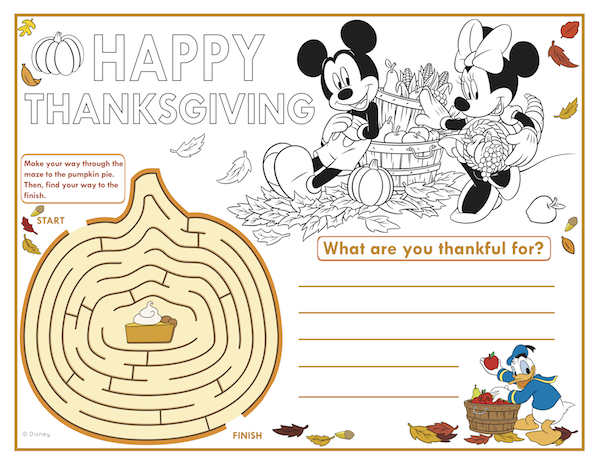 Mickey Thanksgiving placemat
