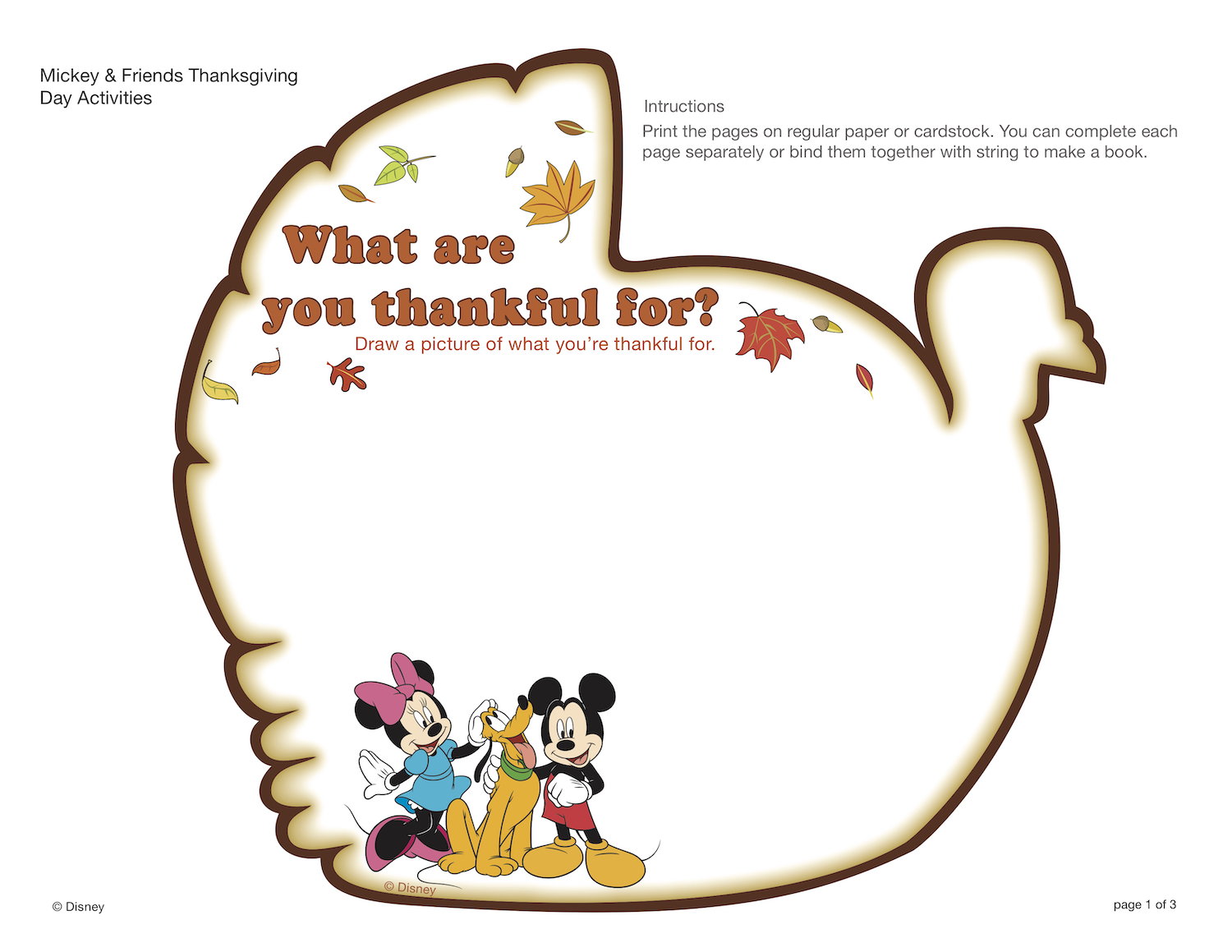 Mickey Thanksgiving Activity, Mickey thankful for, Mickey turkey, Thanksgiving coloring pages
