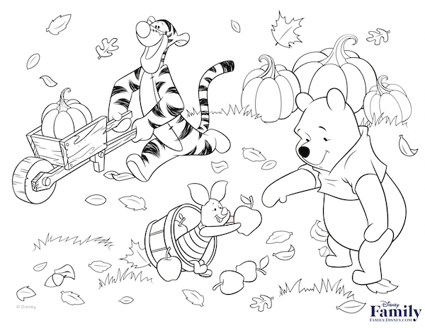 winnie the pooh Thanksgiving Coloring Page