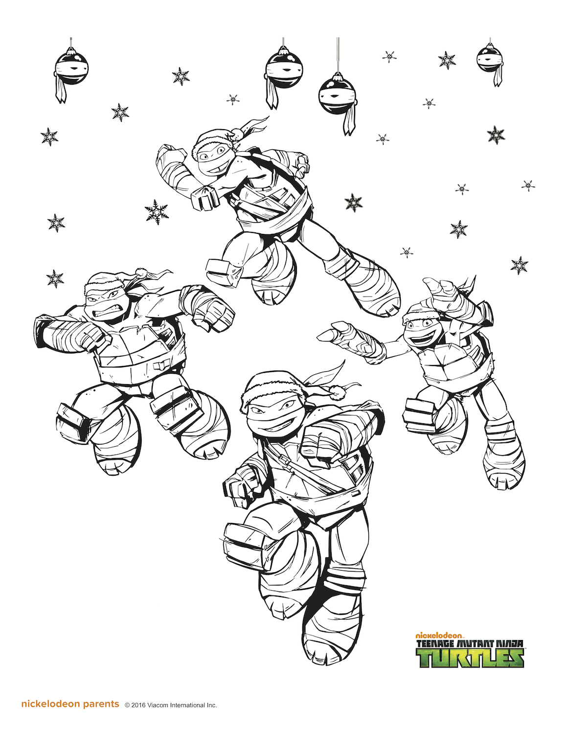 TMNT Christmas coloring page