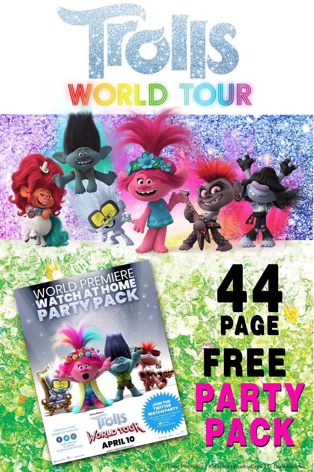 Free Printable Trolls World Tour Party Pack