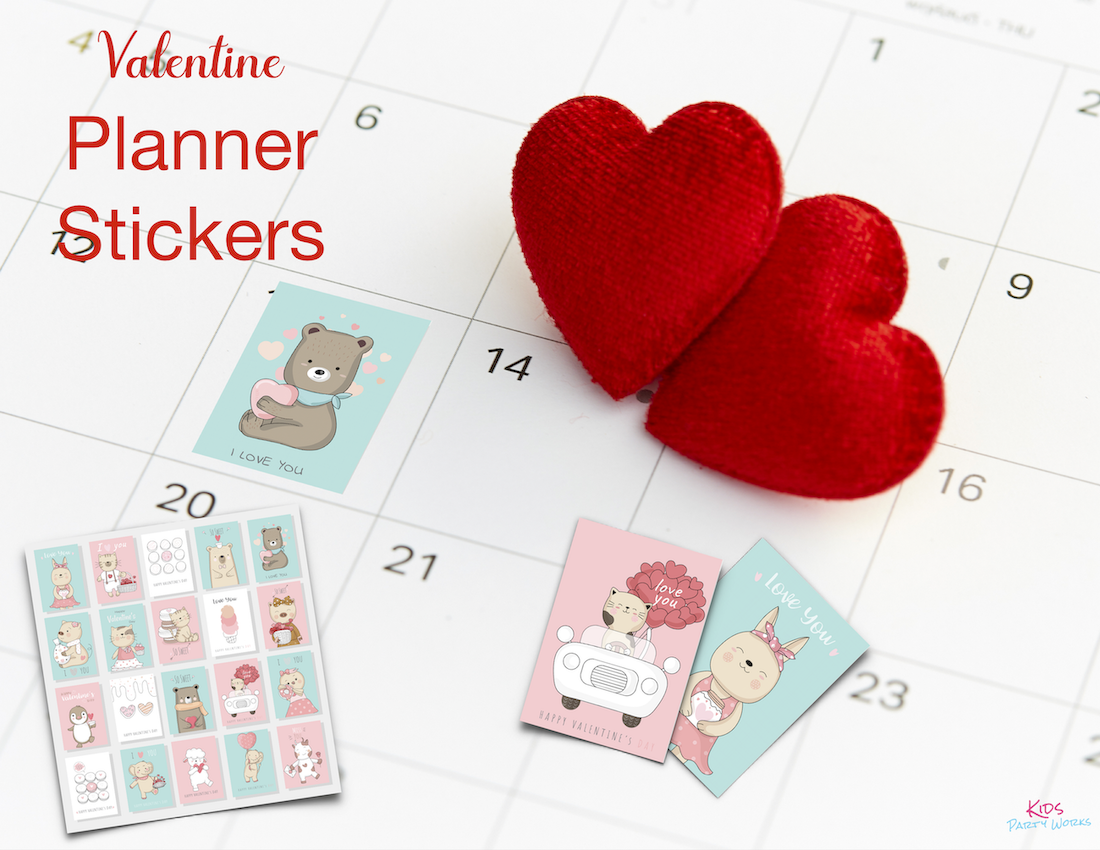 Free Valentine Planner Stickers. Visit KidsPartyWorks.Com for tons of free kids printables.