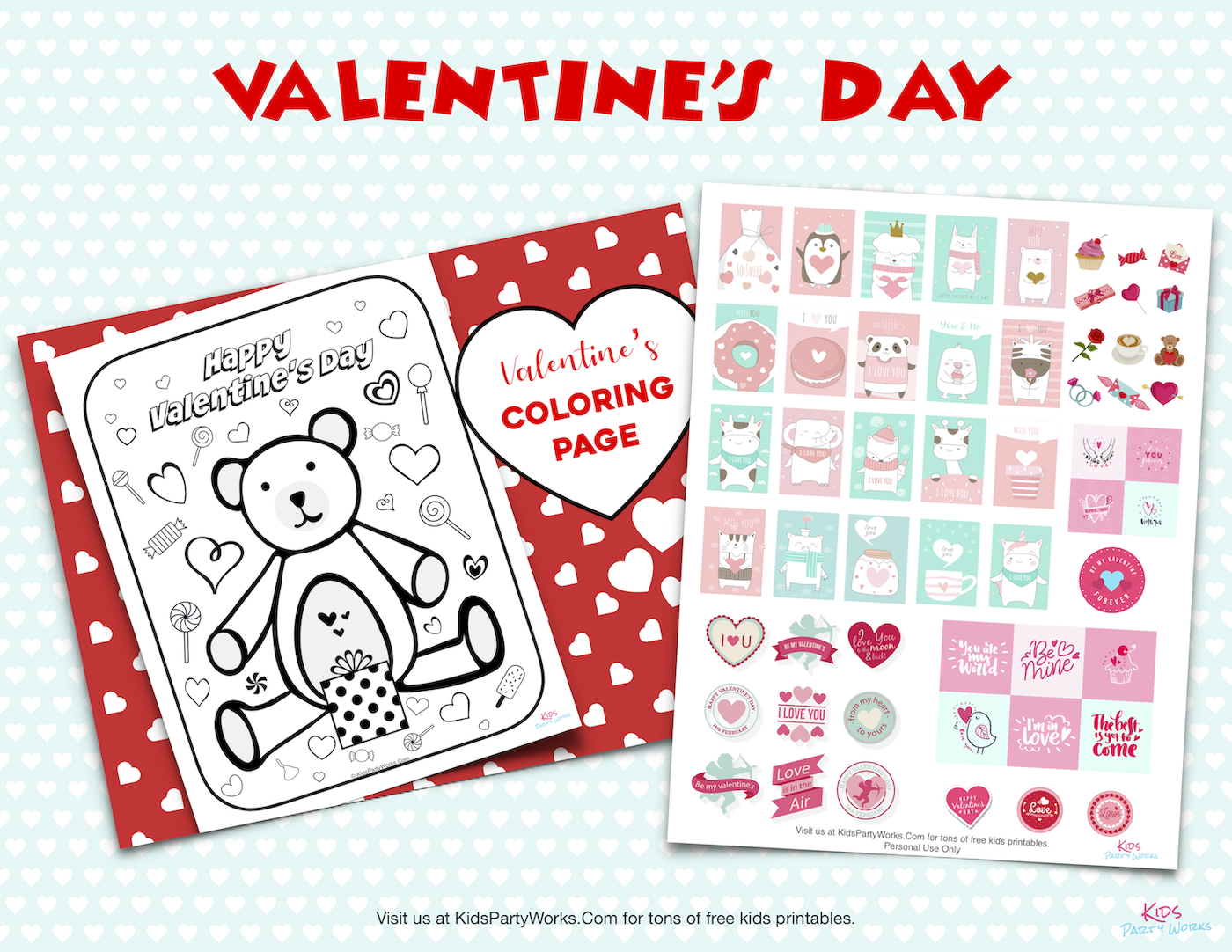 Valentines Planner Stickers and Coloring Page for kids. KidsPartyWorks.Com
